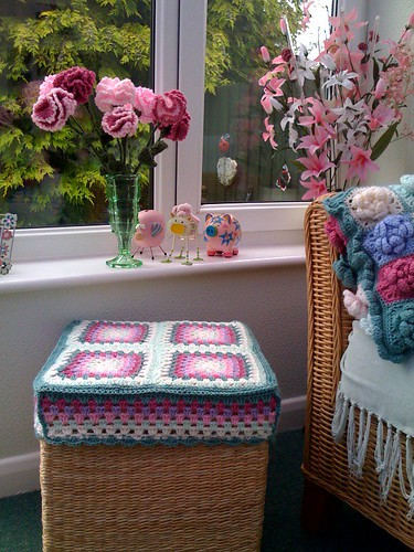 Crocheted Carnations and Wool Box.