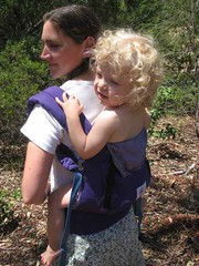 My gorgeous boy in a purple carrier - not from my own stash!