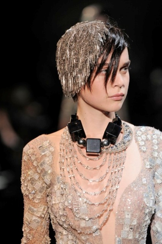 Armani Prive FW09 chain head piece 5