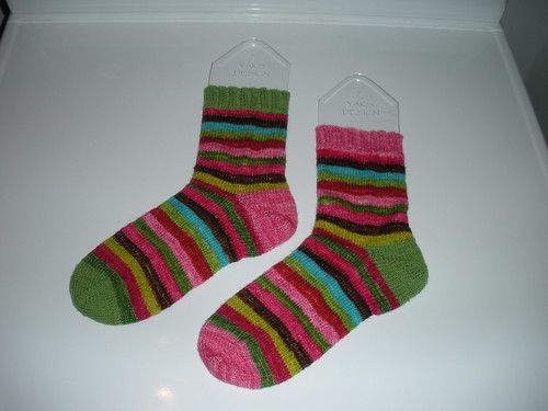 Pink and Green Stripey Socks