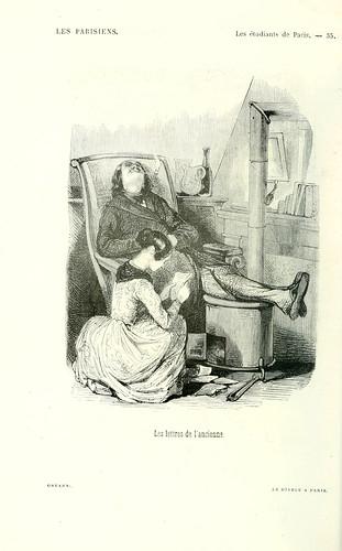 010-Los estudiantes de Paris-las cartas de la anciana dibujo de Gavarni