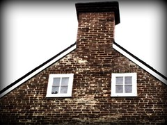 Chimney and windows (Donna Will) Tags: wood windows chimney house building brick window architecture canon virginia greatfalls fairfaxcounty colvinrunmill millershouse canong10
