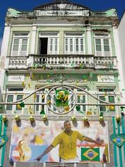 Building Facade with Poster of Soccer Player - Salvador - Brazil
