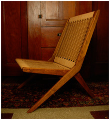 Mid-Century Modern Folding Chair (The Letra Set) Tags: wood cane modern century paper cord chair designer seat walnut hans danish per copy weave mid folding yugoslavia teak oie wegner yugoslavian
