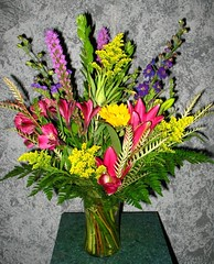 "#35ED $85 Vase arrangement of alstroemeria and oriental lilies, yarrow, solidago, purple larkspur, liatris. and a variety of foliage. • <a style=""font-size:0.8em;"" href=""http://www.flickr.com/photos/39372067@N08/3790365975/"" target=""_blank"">View on Flickr</a>"