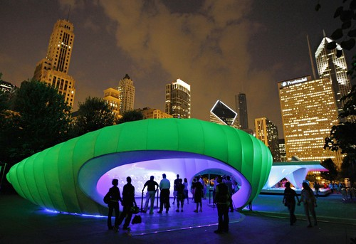 Zahas fabric and aluminum pod is lit at night by LED fixtures, in a changing color scheme designed by Chicago firm Dear Productions. (Courtesy Brian Cassella/Chicago Tribune)