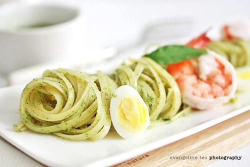laksa pesto. pesto made with laksa leaf (vietnamese coriander), tossed through pasta