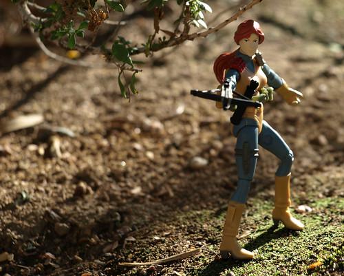 Scarlett in woods