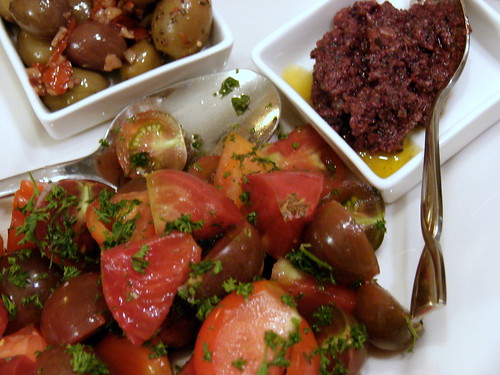 olives, tapenade, tomato salad