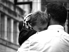 Daddy! (afortiorama) Tags: street people blackandwhite bw white manchester holding market father son balck