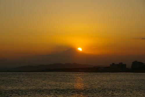 富士山に沈む夕日