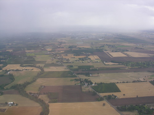 Patchwork quilt of farmland near Eugene Airport