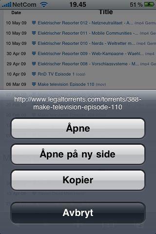 Kopifunksjonen i iPhone fungerer på hele nettadresser også, og dermed på lenker til torrentfiler.