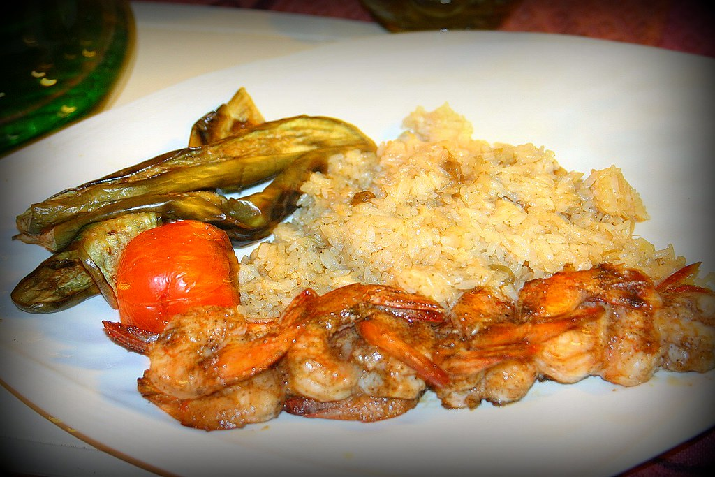 The Old Souths Chicken Tandori, with grilled eggplants, tomato and rice.