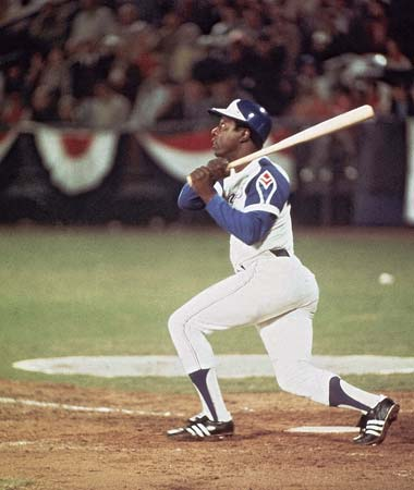 Hank Aaron hitting #715 in April, 1974