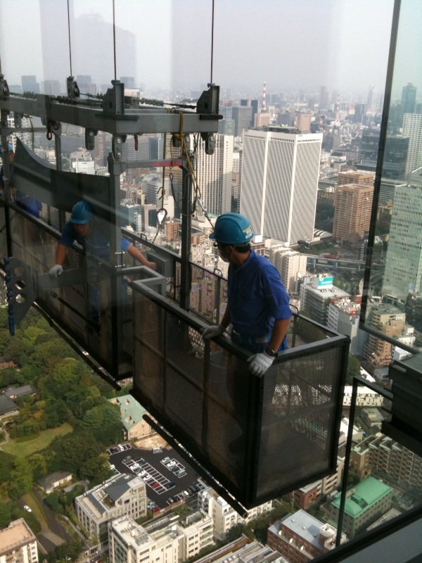 Cleaning windows at Ritz Carlton Tokyo
