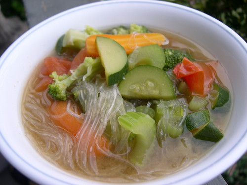 Miso Vegetable Soup With Glass Noodles