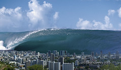 A massive tidal wave, several thousand feet high, rearing up over Honolulu after a massive meteor strike in the Pacific Ocean. (Sean Davey Photography) Tags: pictures ocean from color water horizontal danger photography big dangerous energy surf waves pacific wave panoramic sean tsunami huge surfers armageddon conceptual doomsday powerful swell scenics perilous davey roguewave tidalwave deepimpact meteorstrike