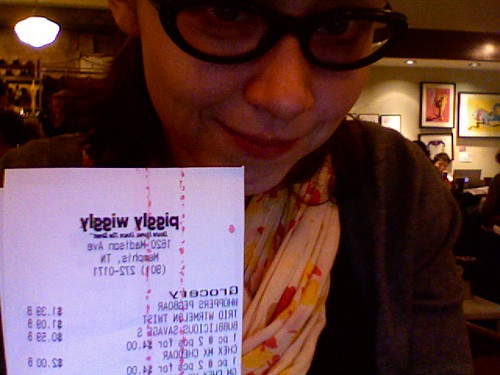 Found it! My backwards photo of the Piggly Wiggly receipt.