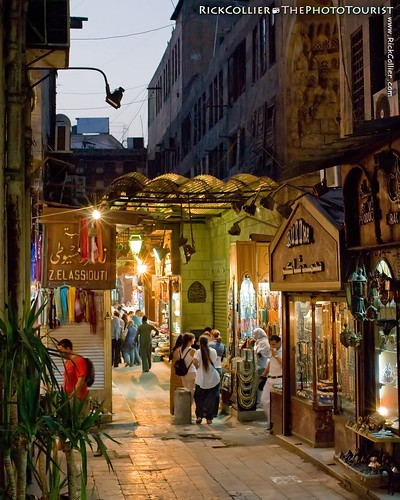 The Khan el-Khalili bazaar in Cairo is at its quietest at dusk, during dinner time before the shopping crowds arrive.