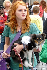 Girl with pet (e) Tags: street dog pet shopping bag ginger streetphotography hond redhead portraiture buy merchandise doggy dogmatic breda portret ros meisje roodharig koopzondag leiband roodharigendag pheomelanism