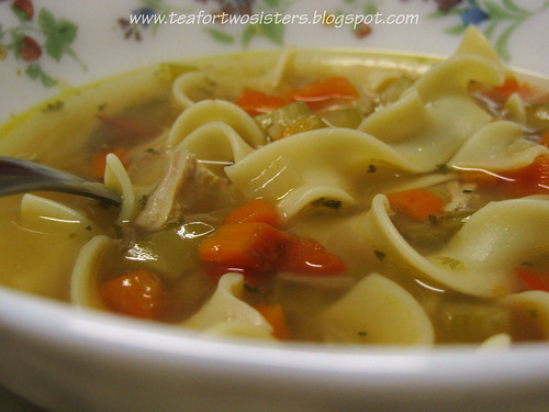 Chicken noodle soup, closeup