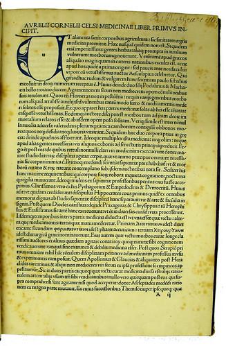 Decorated initial in Celsus, Aurelius Cornelius: De medicina