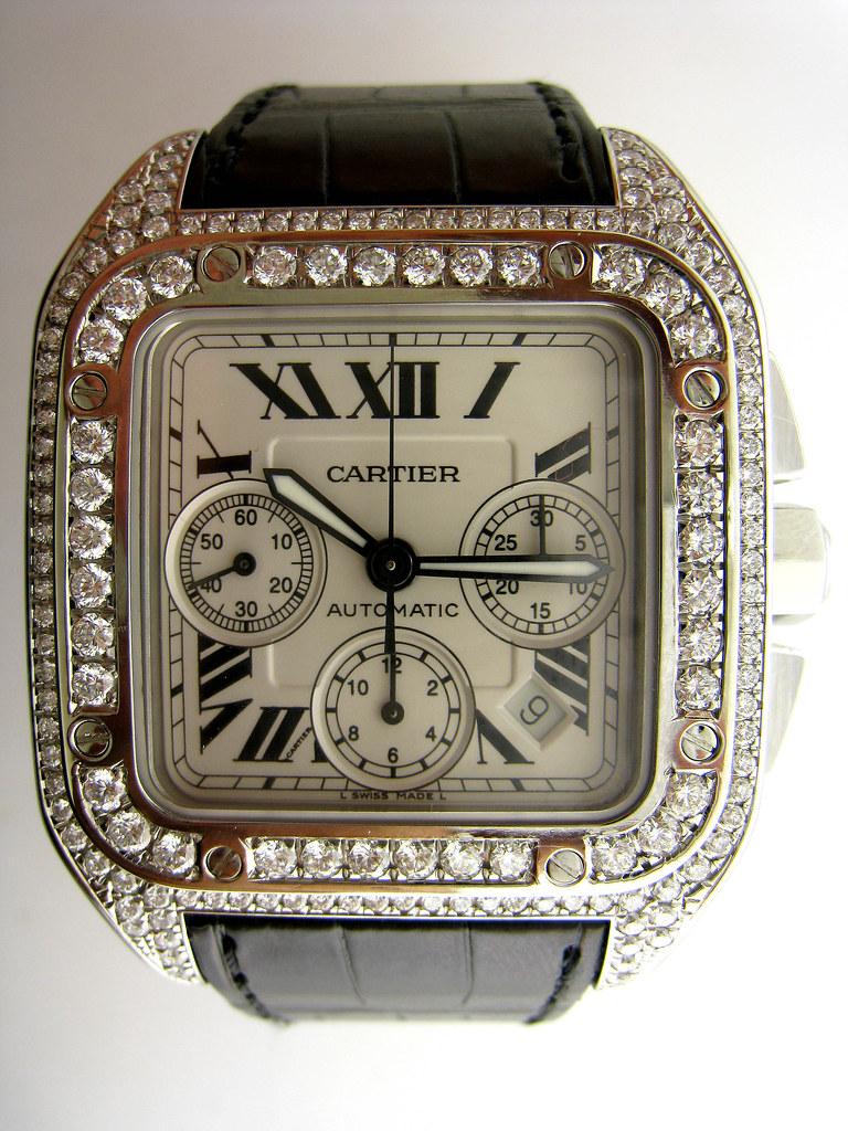 Cartier Santos 100 XL Steel Chronograph Mens Watch W20090X8