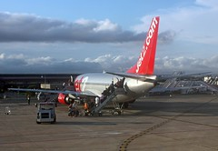 Leaving On A Jet Plane :-) (alphazeta) Tags: red holiday tarmac plane silver leaving spain passengers runway redtail goingonholiday leavingonajetplane jet2com sanjavierairport silverplane notmyplane goingonmyholiday yippeeejollies