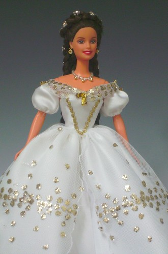 Sissi Barbie in white gown with golden pricks by Bavarian Dolls.