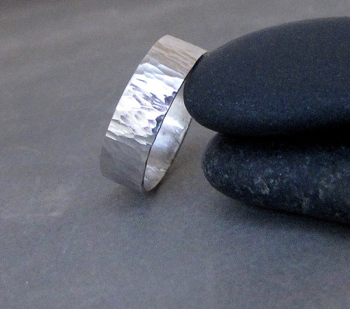 Hammered Wide Waterfall Silver Ring Band