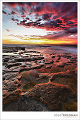 Puddles :: HDR (Assaf_F) Tags: sunrise landscape fire sydney australia puddles range dri hdr experimenting tamarama assaff dyrnamic