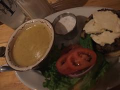 Avgolemono soup and ouzo feta burger
