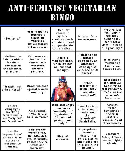 Anti-Feminist Vegetarian Bingo