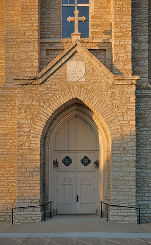 Saint Dominic Roman Catholic Church, in Breese, Illinois, USA - front door