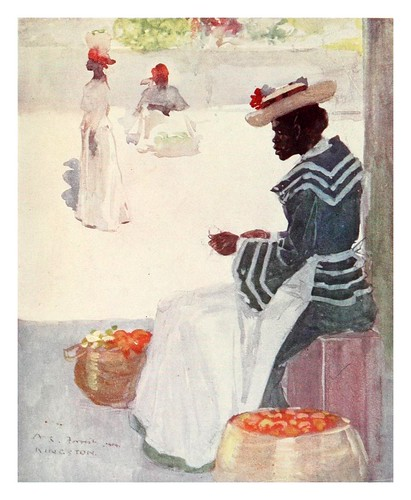 003- Vendedora de frutas en una acera de Kingston Jamaica-The West Indies 1905- Ilustrations Archibald Stevenson Forrest