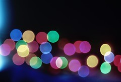 another bokeh. (coco aice.) Tags: pink blue light red orange colors yellow rainbow nikon purple bokeh alice coco d40