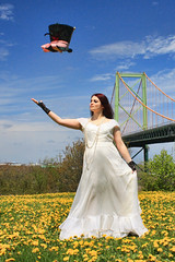 A Hat Trick :o) (sminky_pinky100 (In and Out)) Tags: bridge hat bride model pretty rebecca action mackay colourful halifax throwing dandelions omot trashthedress