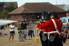 Muzzle flash - 1 in 100. (hobbers1973) Tags: uk england history war gun flag rifle pride cannon muskets uniforms combat southcoast unionjack weapons worldwar2 shoreham militaryhistory warfare militaryuniforms muzzleflash militaryreenactment