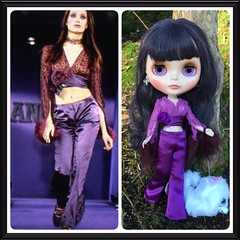 ANNA Sui original alongside my attempt. This was a fun outfit to make with the lace wrap top cuffed in plum faux fur and the satin bell bottoms. Think I want to make more of these! 💜
