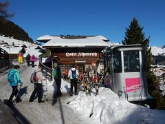 Murren Village (deltrems) Tags: murren village switzerland swiss berner bernese oberland hotel alpenruh skis skiiers restaurant