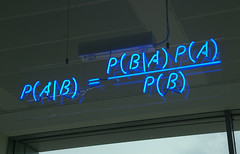 IMGP3678 (mattbuck4950) Tags: blue cambridge england sign neon unitedkingdom math mathematics maths 2009 comments equations probability bayestheorem bayesstheorem