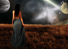 Dreaming of Earth (Claudio.Ar) Tags: woman santafe argentina lady photomanipulation stars artistic sony fantasy chapeau scifi planets sensational emotional dsc topf200