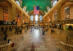 New York - Grand Central Terminal (Philipp Klinger Photography) Tags: new york city nyc newyorkcity trip travel windows light shadow vacation people usa ny newyork motion blur green art window station architecture stairs america train stars geotagged gold us long exposure unitedstates manhattan stripes flag united unitedstatesofamerica ghost hill von central grand terminal ceiling ghosts states amerika murray gct grandcentralterminal starsstripes staaten gcs vereinigtestaaten vereinigtestaatenvonamerika vereinigte of grouptripod