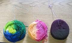 dyed yarn balls