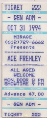 10/31/94 Ace Frehley @ Mirage, Minneapolis, MN (Ticket)