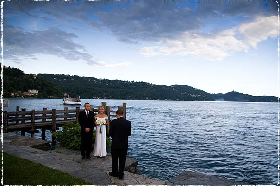 Ceremony on the lakeshore just by the small pier