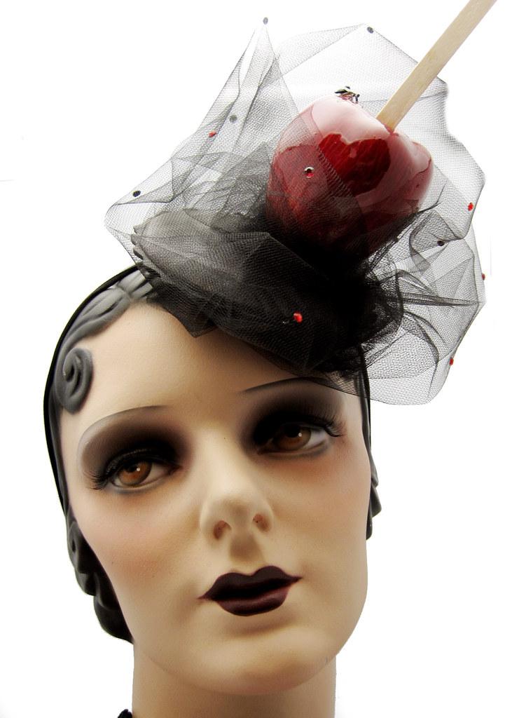 9663fb9f5ed Candy Apple Hat   Fascinator (Topsy Turvy Design) Tags  burlesque  vintagehat circushat halloweenhat