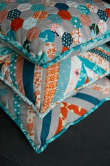 Couch pillows! (kelp!) Tags: orange quilt linen teal sewing stripes sew pillows pillow quilting hexagon string englishpaperpieceing