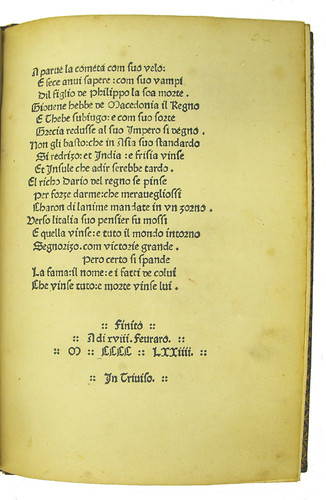 Colophon from Historia Alexandri Magni